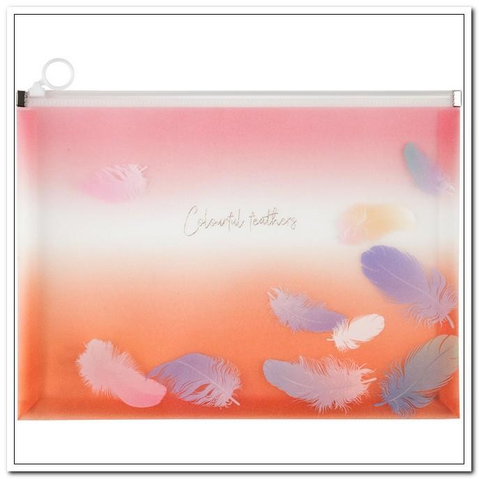 Папка-конверт на молнии А4+ 180мкм,  Colourful Feather 04 (zip-lock) арт. 1452-94-А