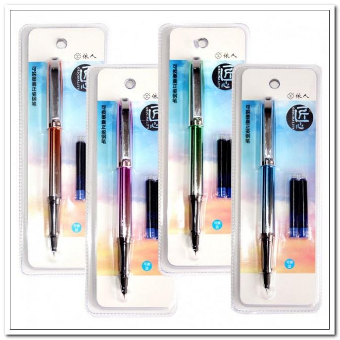 Ручка перьевая J.Otten корпус пластик, цв.асс, +2 синих картриджа