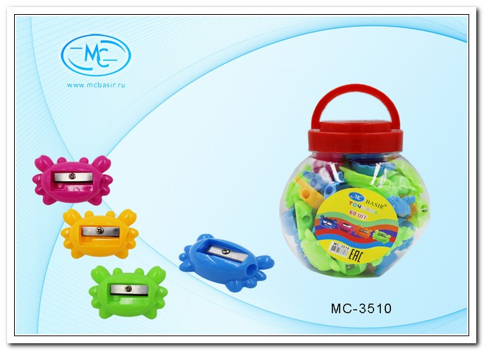 Точилка MC BASIR Краб 5см, одинарная, пластик.