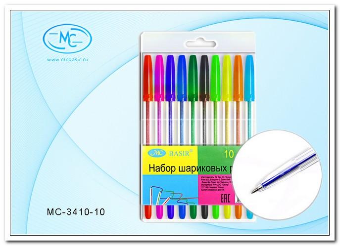 Набор шар.ручек 10цв. MC BASIR прозрач. пластик.корп., цвет.колпачок с клипом