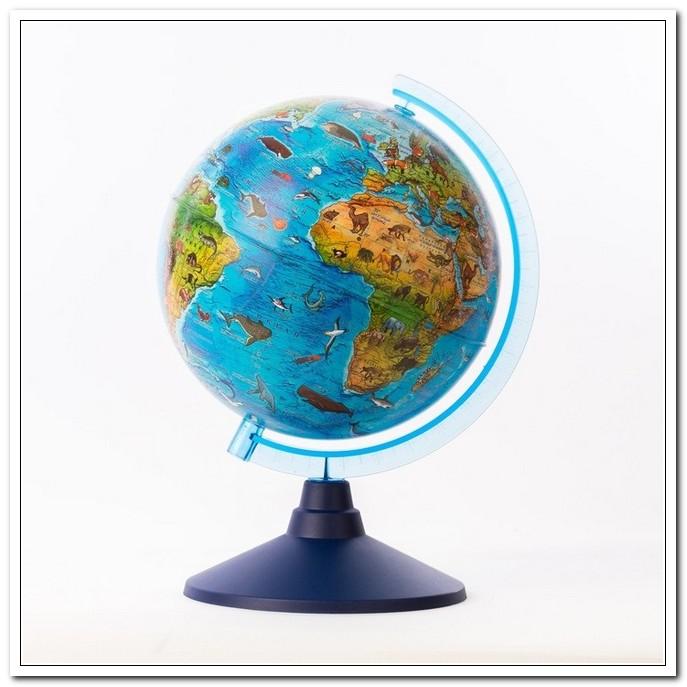 Глобус Зоогеографический 210мм (Детский) с подсв.от батар.Классик евро