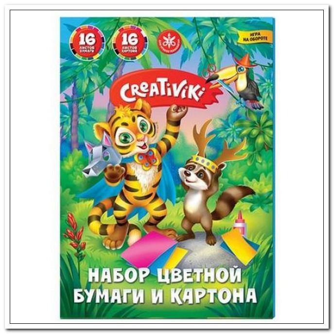 Набор А4 16цв.+16цв. 16л  бумага + картон  Creativiki в папке