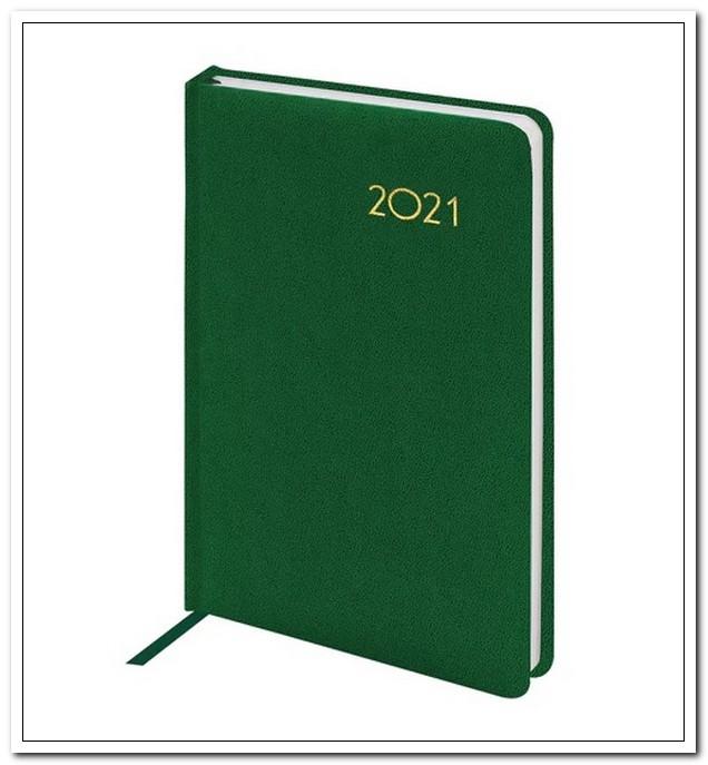 Ежедневник А5 2021г. BRAUBERG Select зеленый, балакрон