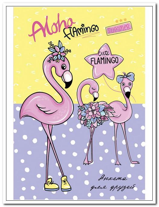 Анкета для друзей А6  64 л. Приятные фламинго, твердый переплет  арт. 64-1909