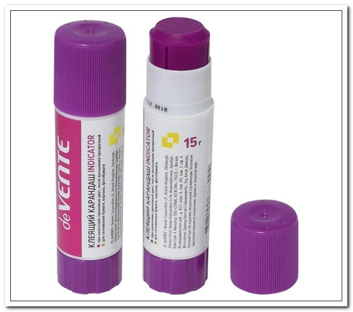 Клей-карандаш 15г на основе ПВА, Indicator, круглый фиолетовый (при высыхании - прозрачный) арт. 4042049
