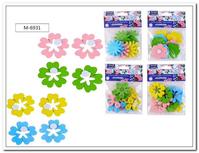 Декоративные элементы из древесины FLOWERS набор 8шт., 3,9см. арт. М-6931