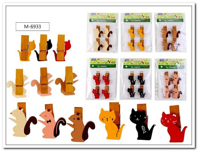 Декоративные прищепки деревянные ANIMALS  4шт., 4.5х1.2см. арт. М-6933